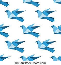 Origami pigeons and doves seamless pattern