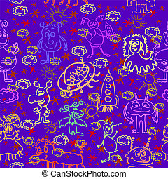Alien Happy Cute Monsters Seamless Pattern