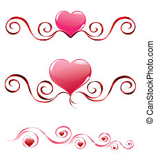 red hearts with decoration set 2 - red hearts with...