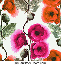 seamless pattern watercolor poppies - Vector graphic,...