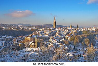 Bern in winter - Bern city covered with fresh snow