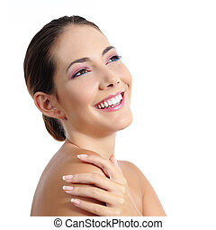 Beauty woman face with soft make up and beautiful smile...