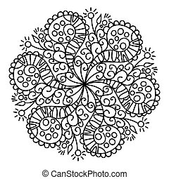Black doodle ornament, isolated on white