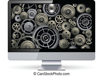 Monitor with technology gears inside, vector design