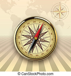 Travel background with compass and windrose, retro vector...