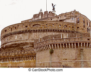 Retro look Castel Sant Angelo Rome - Vintage looking The...