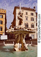 triton,  rome, fontaine, regard,  retro