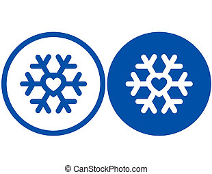 heart in snowflake - concept sign with blue heart in...