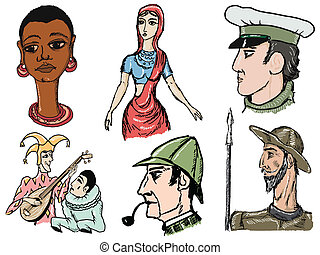 literary characters - set of sketch illustration of...