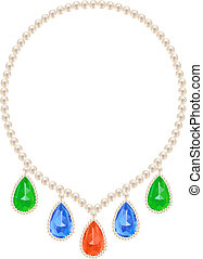 Pearl necklace decorated with five gems teardrop shape