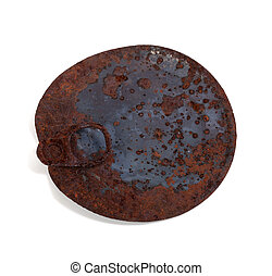 Old rusty cap of tin can isolated on white background