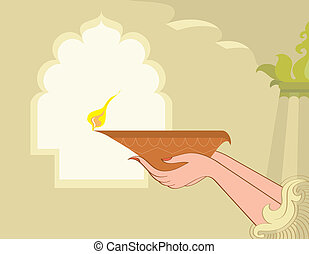 Women Holding Oil Lamp Vector Art