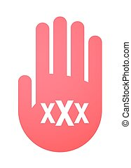 hand with a triple x sign - illustration of an isolated hand...