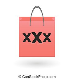 shopping bag with a triple x sign - illustration of an...