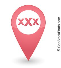 map mark with a triple x sign - illustration of an isolated...