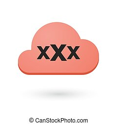 cloud with a triple x sign - illustration of an isolated...