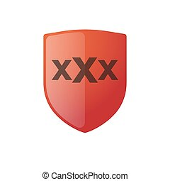 shield with a triple x sign - illustration of an isolated...