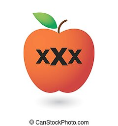 apple with a triple x sign - illustration of an isolated...