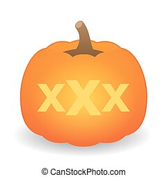 pumpkin with a triple x sign - illustration of an isolated...