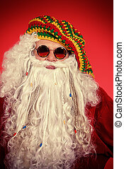 hippie Santa - Portrait of a casual Santa Claus hippie over...