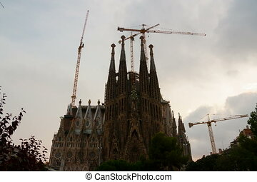 Sagrada Familia in evening - BARCELONA, CATALONIA -...