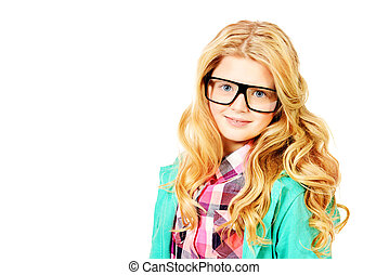 spectacles girl - Portrait of a smart ten years girl in big...