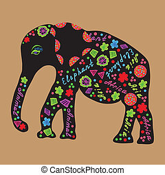 Elephant painted markers, bright vector illustration for...