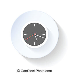 Clock, the end of the working day close flat icon vector...