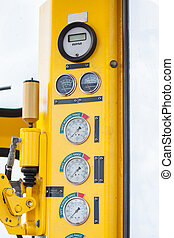 Meters or gauge in crane cabin for measure Maximun load,...