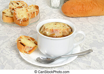 french onion soup with a spoon