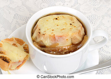 macro french onion soup with cheese