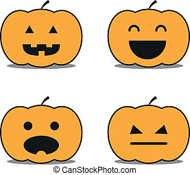 Different helloween pumpkin icons clip-art