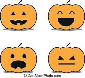 Different helloween pumpkin icons clip-art