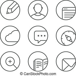 Different web browser icons set with rounded corners. Design...