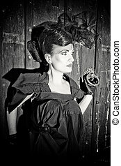 Lovely woman retro widow portrait black and white
