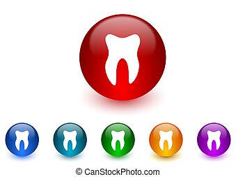 dente, Internet, ícones, coloridos, jogo