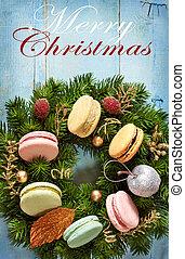 Christmas card. - Christmas wreath with macarons cakes and...