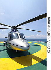 helicopter parking landing on offshore platform Helicopter...