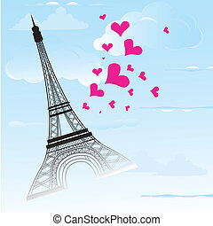 Paris town in France card as symbol love and romance travel...