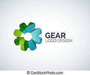 Gear logo design made of color pieces - Abstract gear logo...