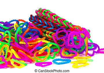 Colorful Rainbow loom bracelet rubber bands fashion close up...