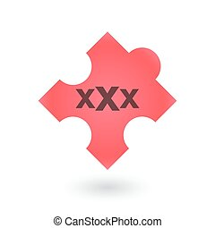 puzzle piece with a triple x sign - illustration of an...