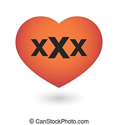 heart with a triple x sign - illustration of an isolated...