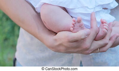 Father hand newborns - Newborn baby girl on hands at Father