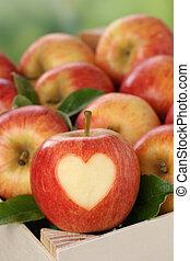 maçã, Coração, caixa, Outono,...