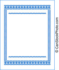 frame for cross-stitch embroidery Blue colors - Floral frame...