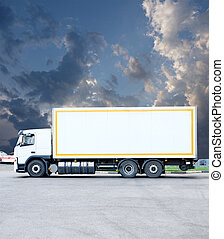 Big white modern commercial truck standing on parking lot on...