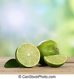 Lime fruits in summer with copyspace