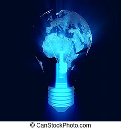 Eco bulb, electric light bulb with a world map, Europe