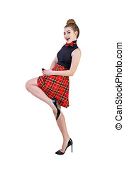 Pin Up Girl - Young attractive girl dressed in a pin up...